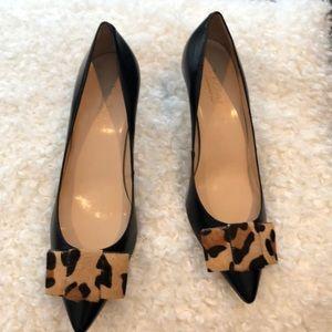 Leopard Faux Fur Bow Black Leather Pumps